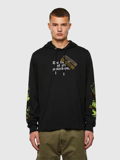 Diesel - T-JUST-LS-HOOD-TAPES, Black - T-Shirts - Image 1