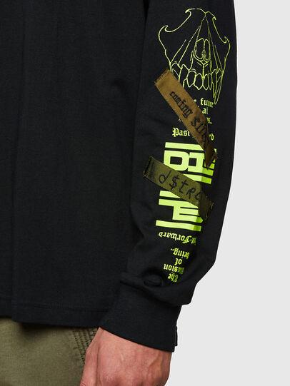 Diesel - T-JUST-LS-HOOD-TAPES, Black - T-Shirts - Image 4