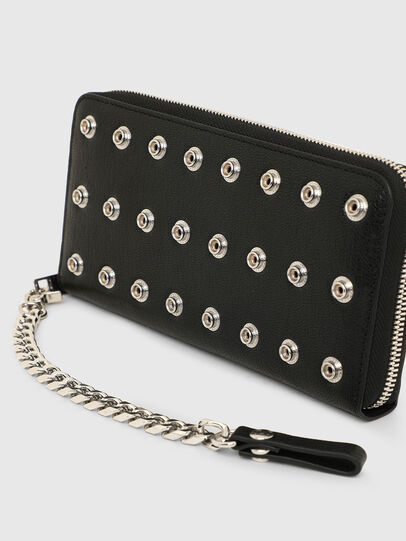 Diesel - 24 ZIP CHAIN, Black - Zip-Round Wallets - Image 4