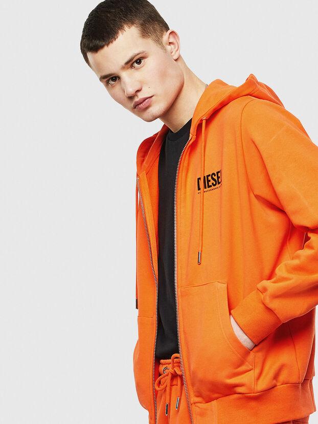 S-GIRK-HOOD-ZIP-LOGO, Orange - Sweaters