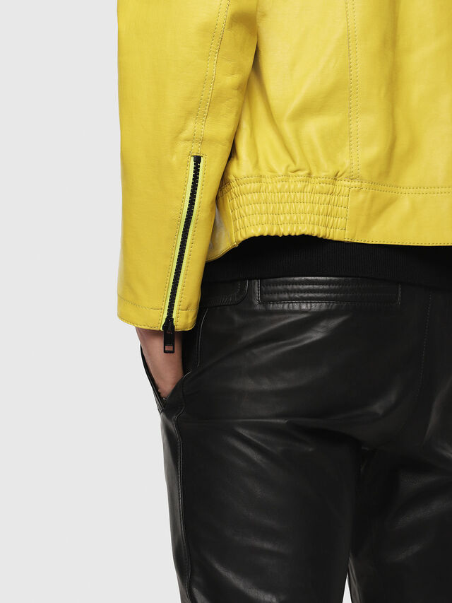 Diesel - L-RESTIL, Yellow - Leather jackets - Image 5