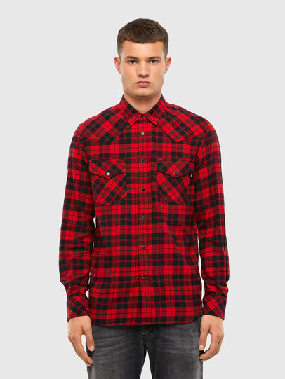 Diesel - S-EAST-LONG-CHK, Black/Red - Shirts - Image 1