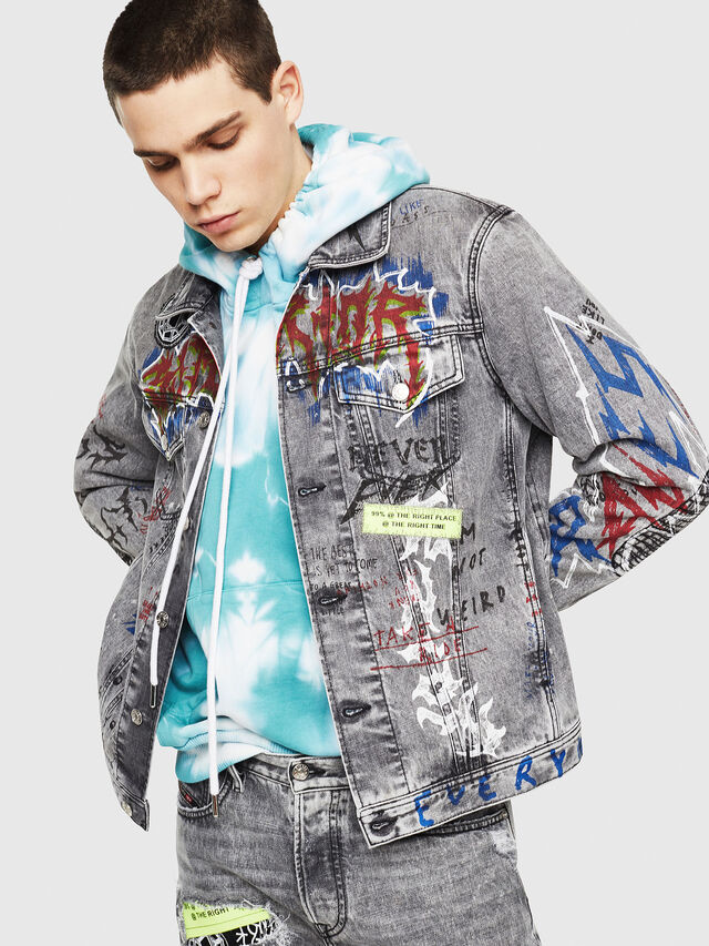 Diesel - DXF-NHILL, Light Grey - Denim Jackets - Image 1