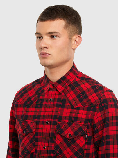 Diesel - S-EAST-LONG-CHK, Black/Red - Shirts - Image 3