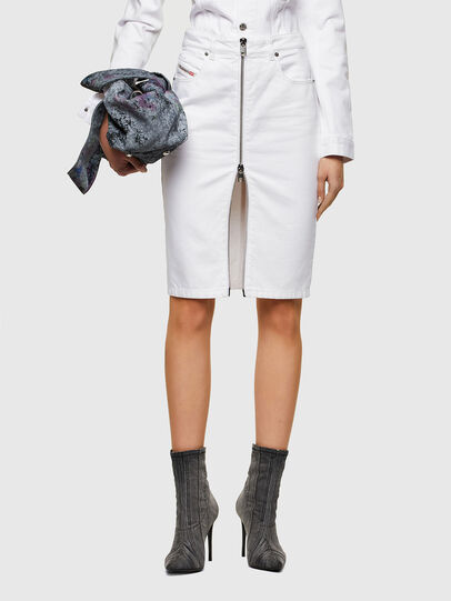Diesel - DE-PENCIL-ZIP, White - Skirts - Image 1