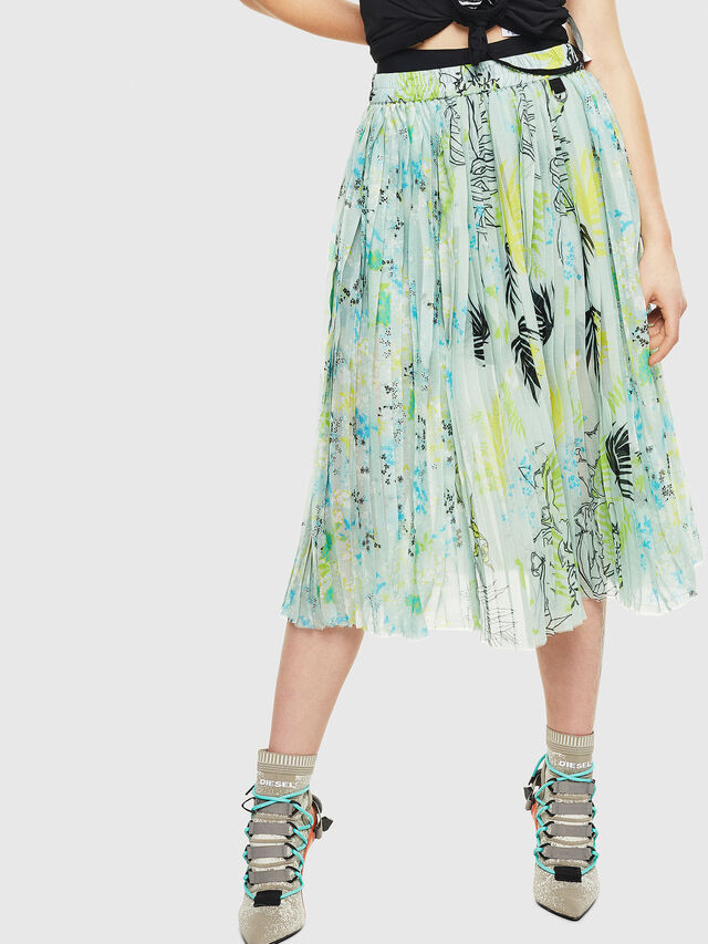 Diesel - O-PLIZ, Water Green - Skirts - Image 1