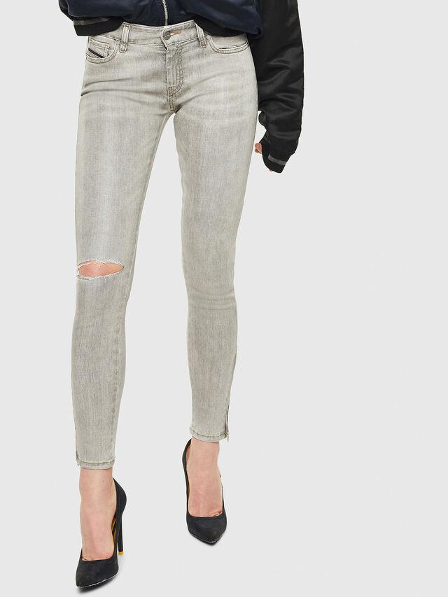 Diesel - Slandy Zip 086AE, Light Grey - Jeans - Image 1
