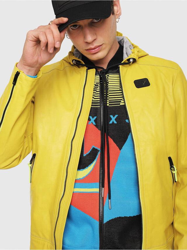 Diesel - L-RESTIL, Yellow - Leather jackets - Image 4