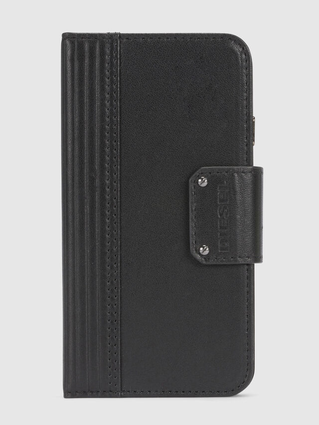 Diesel - BLACK LINED LEATHER IPHONE 8/7 FOLIO, Black - Flip covers - Image 3