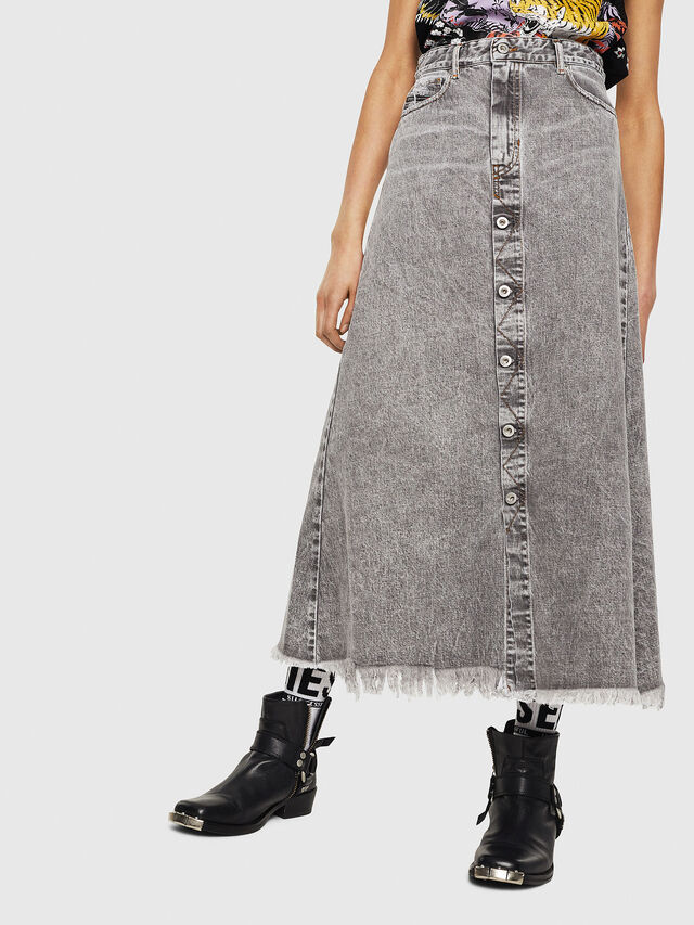 Diesel - DE-MARGY, Light Grey - Skirts - Image 1