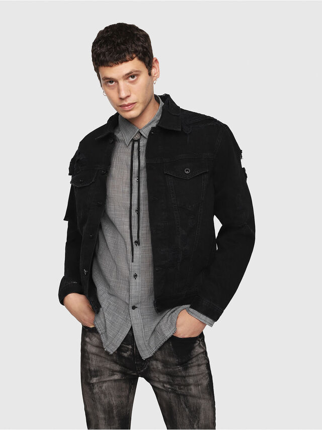 Diesel - D-HILL, Black - Denim Jackets - Image 1