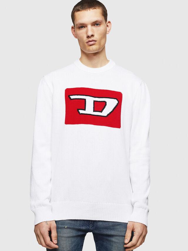 Diesel - K-LOGOX-B, White - Knitwear - Image 1