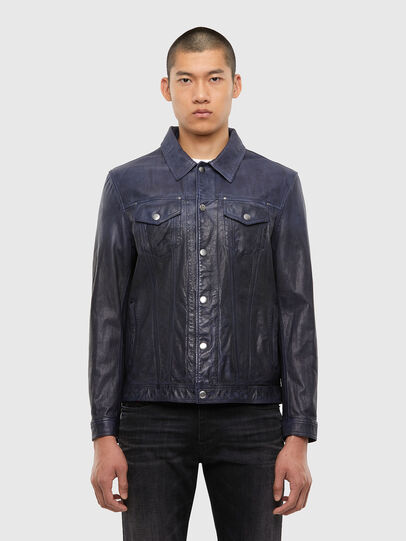Diesel - L-NHILL-TRE, Dark Blue - Leather jackets - Image 1