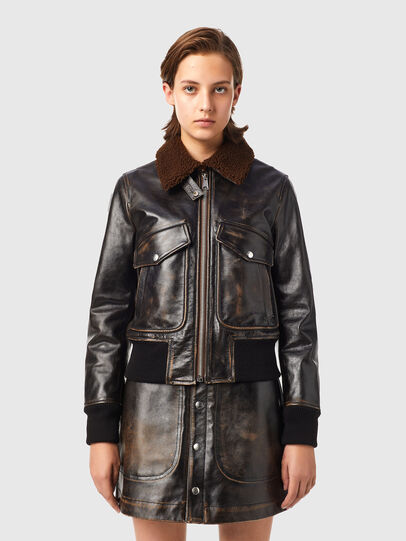 Diesel - L-TRACY, Black - Leather jackets - Image 1