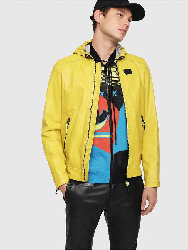 Diesel - L-RESTIL, Yellow - Leather jackets - Image 1