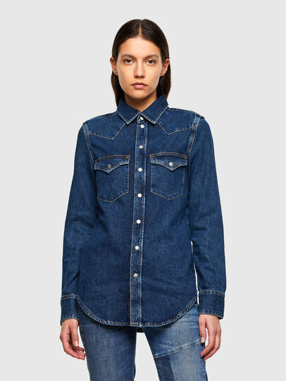 Diesel - DE-RINGY, Dark Blue - Denim Shirts - Image 1