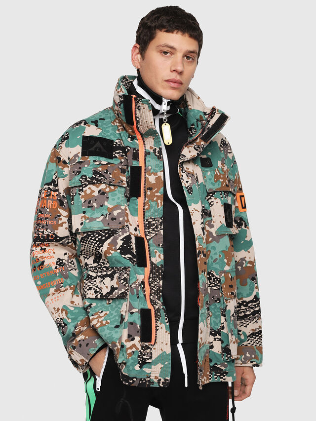Diesel - J-TOUCHA-CAMOU, Green Camouflage - Jackets - Image 1
