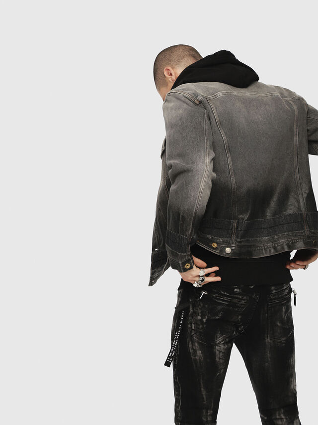 Diesel - NHILL, Black/Dark grey - Denim Jackets - Image 2
