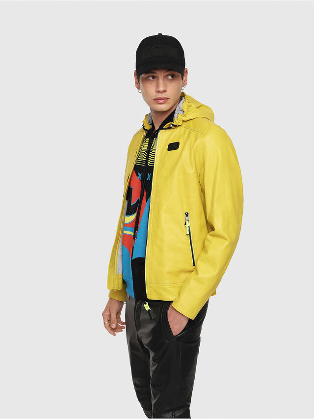 Diesel - L-RESTIL, Yellow - Leather jackets - Image 3