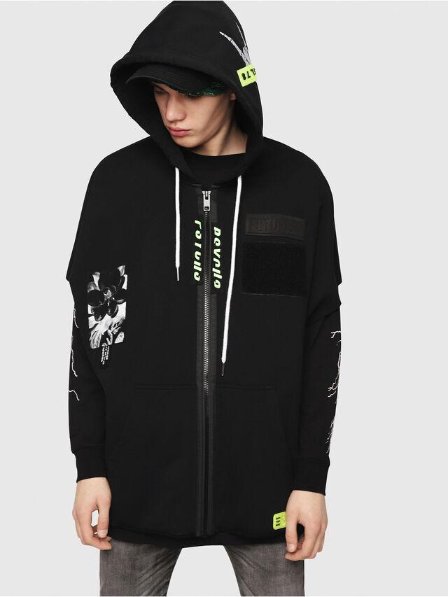 Diesel - S-MAKI-ZIP, Black/Green - Sweaters - Image 1