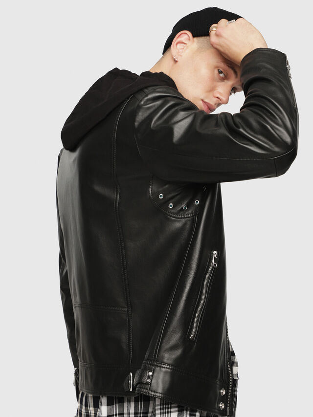 Diesel - L-SHIRO-WH, Black - Leather jackets - Image 3