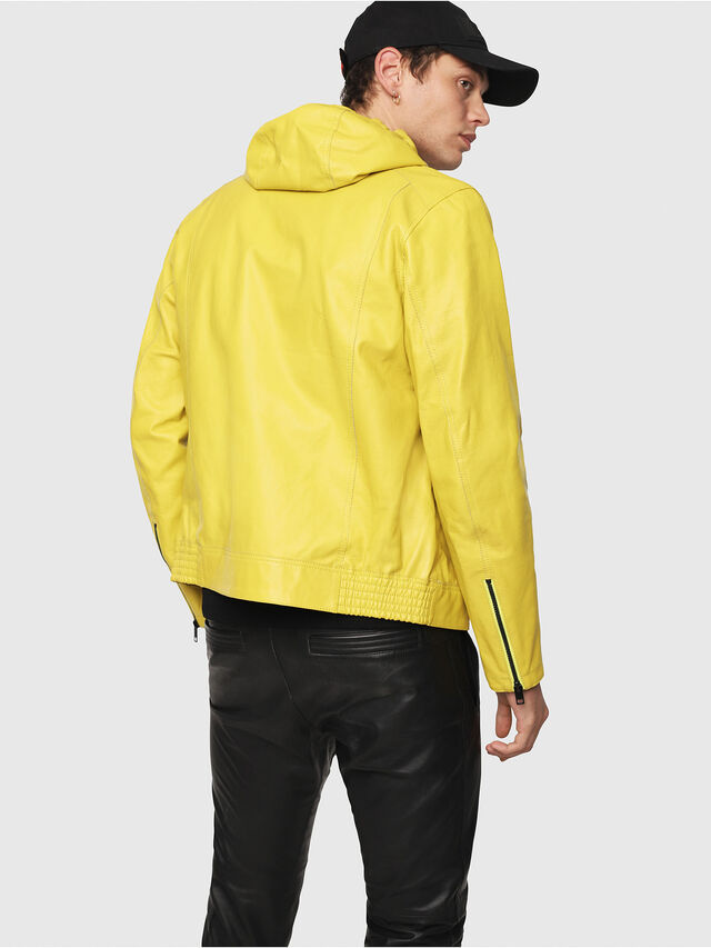 Diesel - L-RESTIL, Yellow - Leather jackets - Image 2