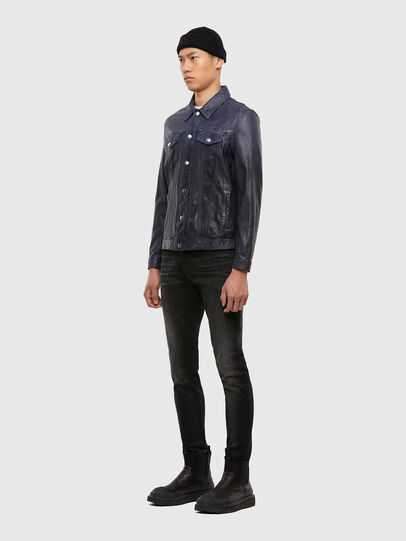 Diesel - L-NHILL-TRE, Dark Blue - Leather jackets - Image 6