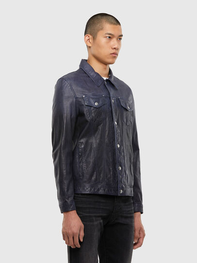 Diesel - L-NHILL-TRE, Dark Blue - Leather jackets - Image 4