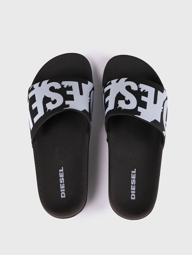 Diesel SA-MARAL, Black/White - Slippers - Image 2