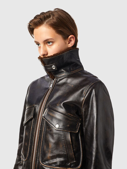 Diesel - L-TRACY, Black - Leather jackets - Image 5