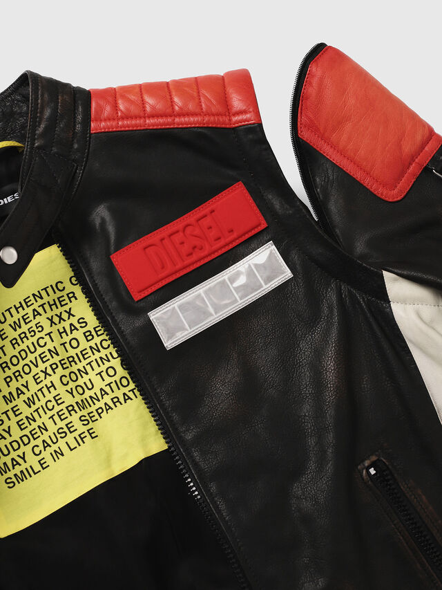 Diesel - L-YUJA, Black/Red - Leather jackets - Image 5