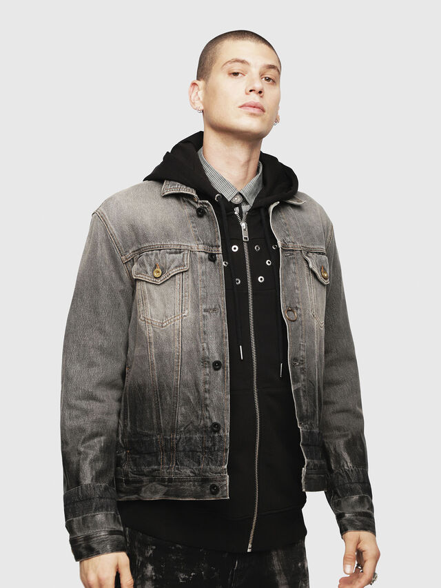 Diesel - NHILL, Black/Dark grey - Denim Jackets - Image 1