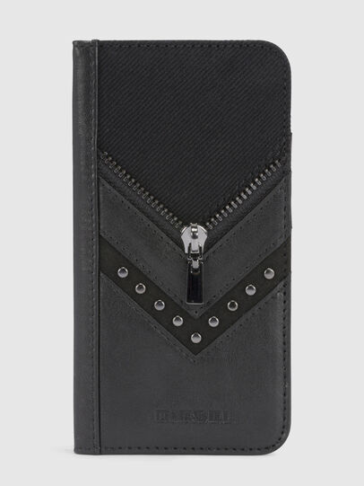 Diesel - BLACK DENIM/STUD/ZIPPER IPHONE X FOLIO, Black - Flip covers - Image 2